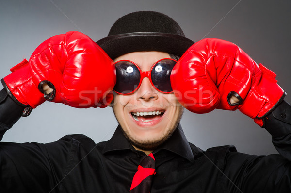 Funny man with boxing gloves  Stock photo © Elnur