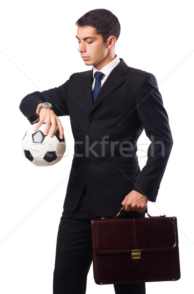 Businessman with football isolated on white Stock photo © Elnur
