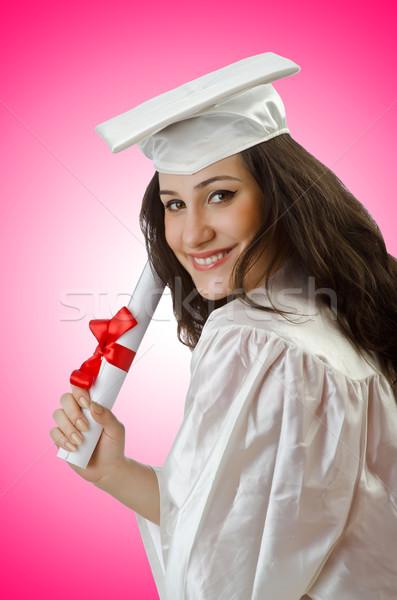 Gelukkig student vieren afstuderen witte glimlach Stockfoto © Elnur
