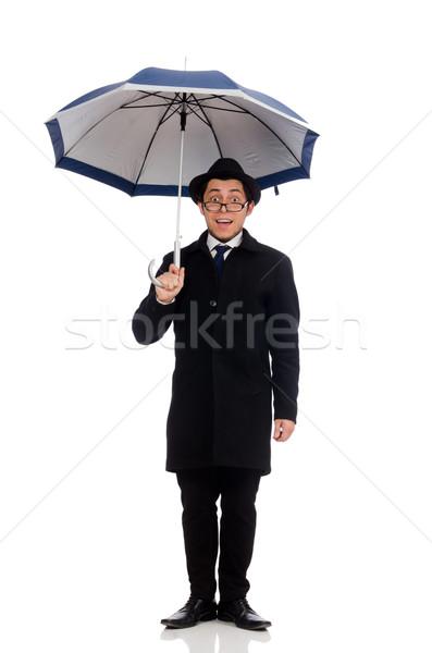 Stock fotó: Fiatalember · esernyő · izolált · fehér · mosoly · háttér