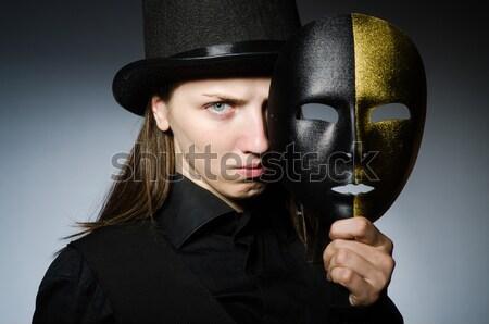 Mooie meisje retro hoed Stockfoto © Elnur