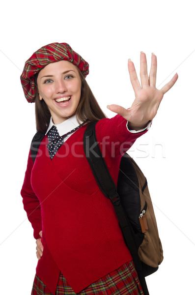 Girl in scottish tartan clothing isolated on white Stock photo © Elnur
