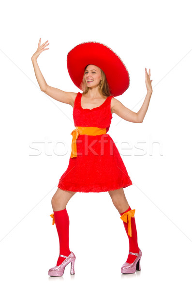 Stock photo: Woman wearing sombrero on the white