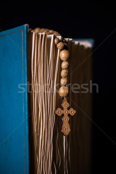 Bíblia atravessar religioso madeira luz jesus Foto stock © Elnur