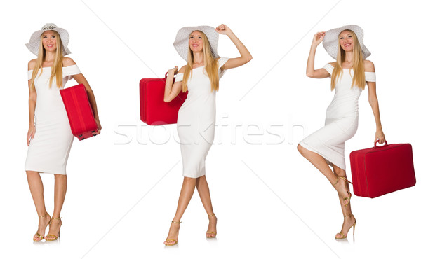 Travelling woman with suitcase isolated on white Stock photo © Elnur
