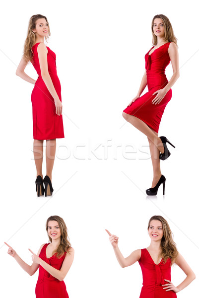 Young woman in red dress isolated on white Stock photo © Elnur