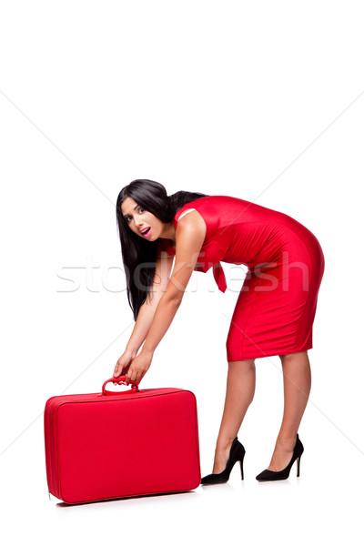 женщину чемодан изолированный белый девушки счастливым Сток-фото © Elnur