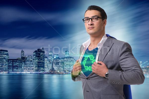 Biznesmen superhero czerwony okładka działalności człowiek Zdjęcia stock © Elnur