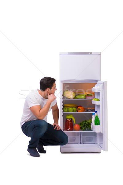男 冷蔵庫 フル 食品 家 幸せ ストックフォト © Elnur