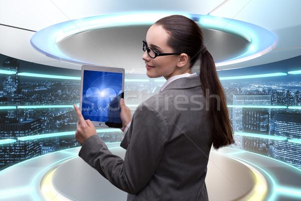 üzletasszony online kereskedés nő munka laptop Stock fotó © Elnur