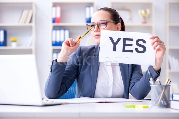 女性実業家 はい メッセージ オフィス コンピュータ 女性 ストックフォト © Elnur