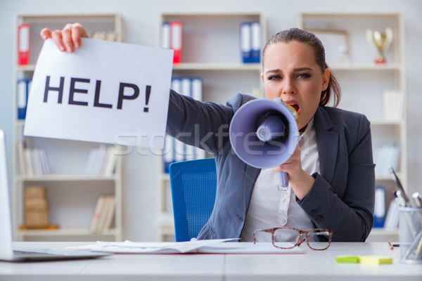 Geschäftsfrau flehend helfen Büro Arbeit Schreibtisch Stock foto © Elnur