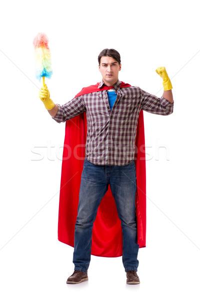 スーパーヒーロー クリーナー 孤立した 白 男 作業 ストックフォト © Elnur
