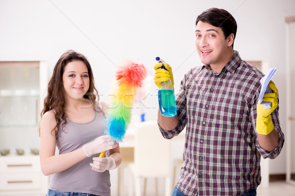 Wife and husband doing cleaning at home Stock photo © Elnur