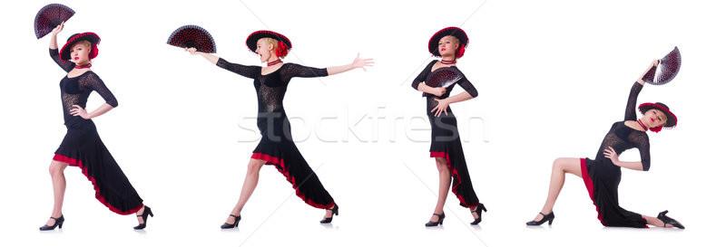 Vrouw dansen spaans dans geïsoleerd witte Stockfoto © Elnur