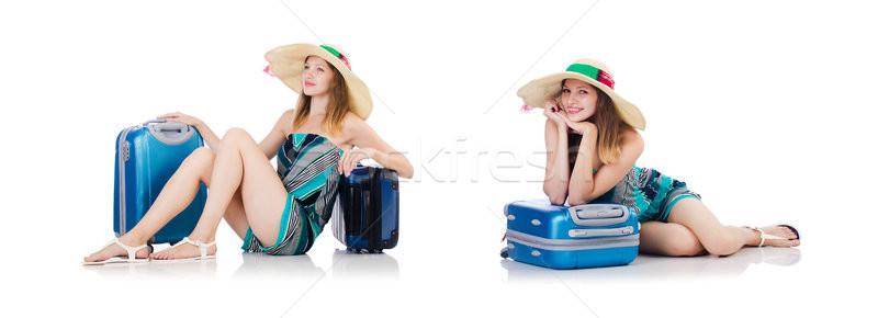 Nő nyári vakáció izolált fehér tengerpart lány Stock fotó © Elnur