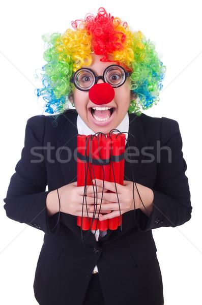 üzletember bohóc izolált fehér nő buli Stock fotó © Elnur