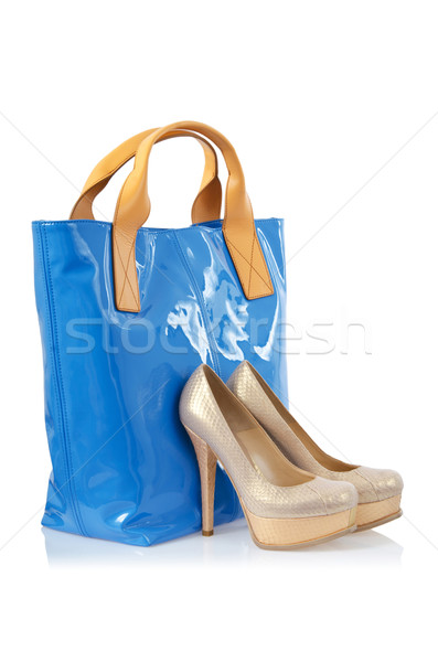 Pair of shoes and bag on white Stock photo © Elnur
