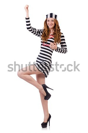 Stock photo: Prisoner in striped uniform on white