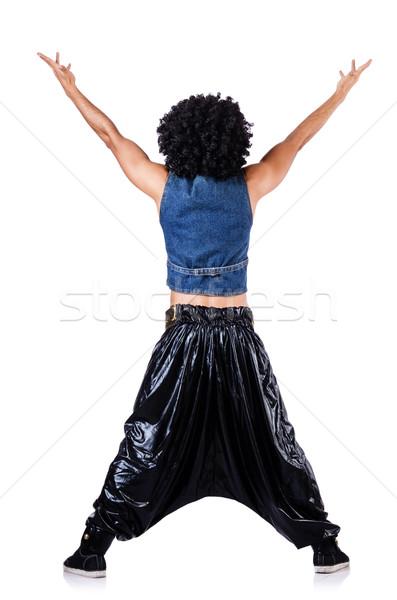 Rap táncos széles nadrág fehér férfi Stock fotó © Elnur