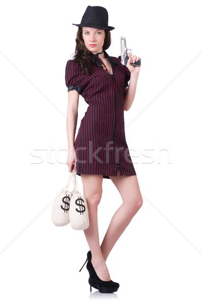 Kadın gangster tabanca para seksi model Stok fotoğraf © Elnur