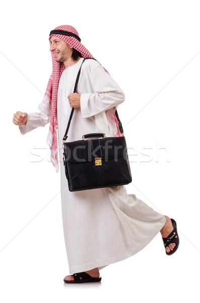 арабских человека портфель изолированный белый счастливым Сток-фото © Elnur