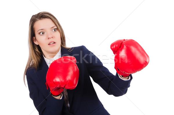Kadın işkadını boks eldivenleri beyaz iş ofis Stok fotoğraf © Elnur