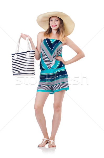 Pretty woman with summer handbag and panama isolated on white Stock photo © Elnur