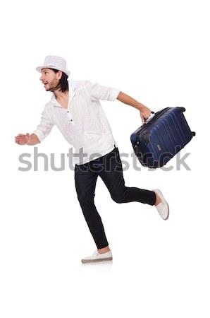 Seyahat tatil bagaj beyaz mutlu arka plan Stok fotoğraf © Elnur