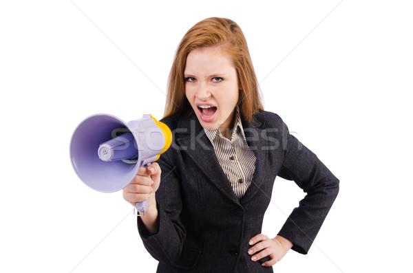 Kobieta głośnik odizolowany biały dziewczyna szczęśliwy Zdjęcia stock © Elnur