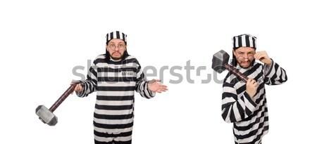 Prigioniero strisce uniforme bianco dancing legge Foto d'archivio © Elnur