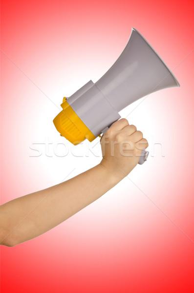 Kéz tart hangfal fehér üzlet háttér Stock fotó © Elnur