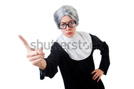 Young man wearing as nun isolated on white Stock photo © Elnur