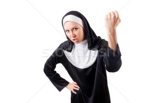 Сток-фото: довольно · монахиня · изолированный · белый · женщину · лице