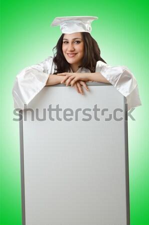 Kobieta marynarz pokładzie biały uśmiech twarz Zdjęcia stock © Elnur