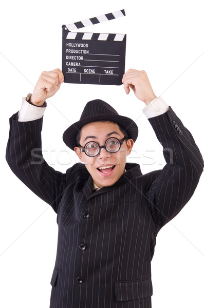 Funny man in elegant suit with movie clapboard isolated on white Stock photo © Elnur