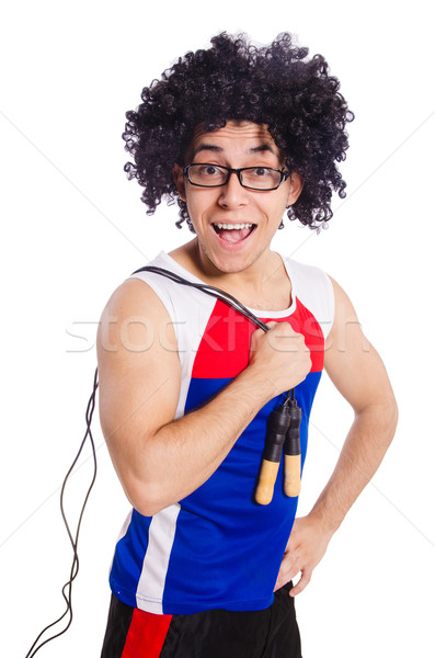 Guy with skipping rope isolated on white Stock photo © Elnur