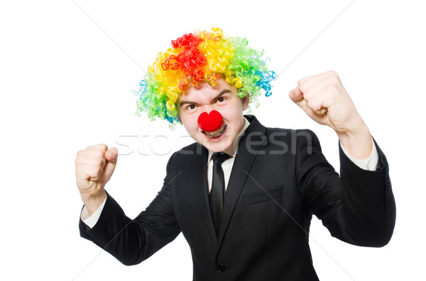 Stockfoto: Zakenman · clown · grappig · geïsoleerd · witte · man