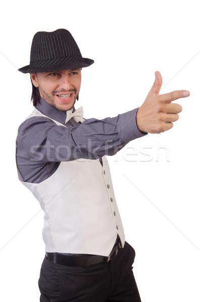 молодым человеком серый рубашку черный Hat изолированный Сток-фото © Elnur
