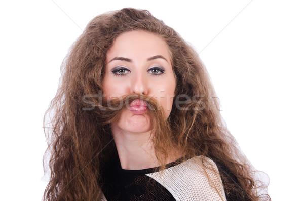 Barna haj lány izolált fehér haj fiatal Stock fotó © Elnur