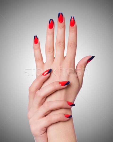 Szög művészet kezek fehér test festék Stock fotó © Elnur