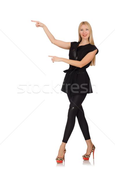 Jolie femme étroit pantalon noir isolé blanche femme Photo stock © Elnur