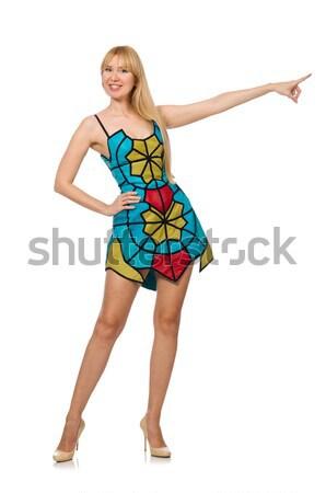 Joli femme court jaune robe Photo stock © Elnur