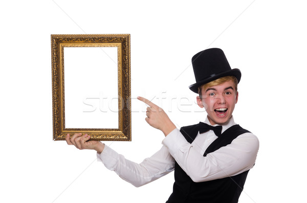 Fickó fényképkeret izolált fehér férfi háttér Stock fotó © Elnur