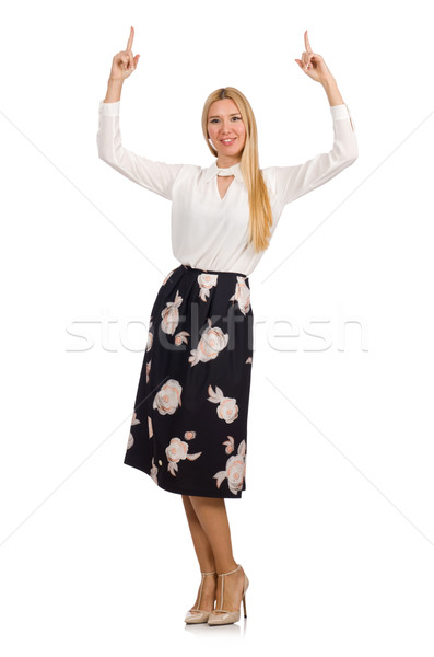 Stock photo: Pretty girl in black skirt with flowers isolated on white