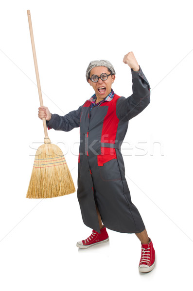Funny janitor isolated on white Stock photo © Elnur