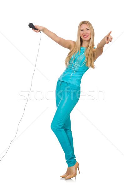 Jonge vrouw zanger geïsoleerd witte partij haren Stockfoto © Elnur