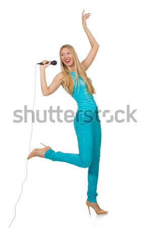 Stock photo: Young woman singer isolated on white