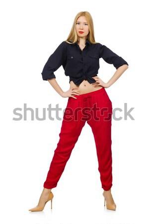 Jonge vrouw mode vrouw Rood kleding witte Stockfoto © Elnur