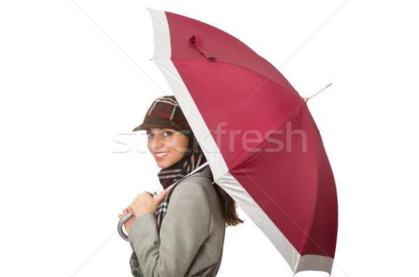 Nő esernyő izolált fehér boldog nap Stock fotó © Elnur